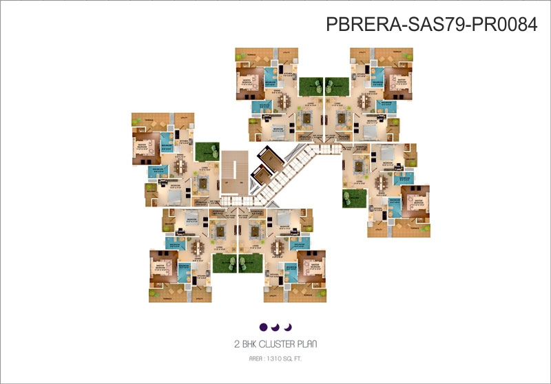 2 BHK Cluster plan - 1310 Sq. Ft.
