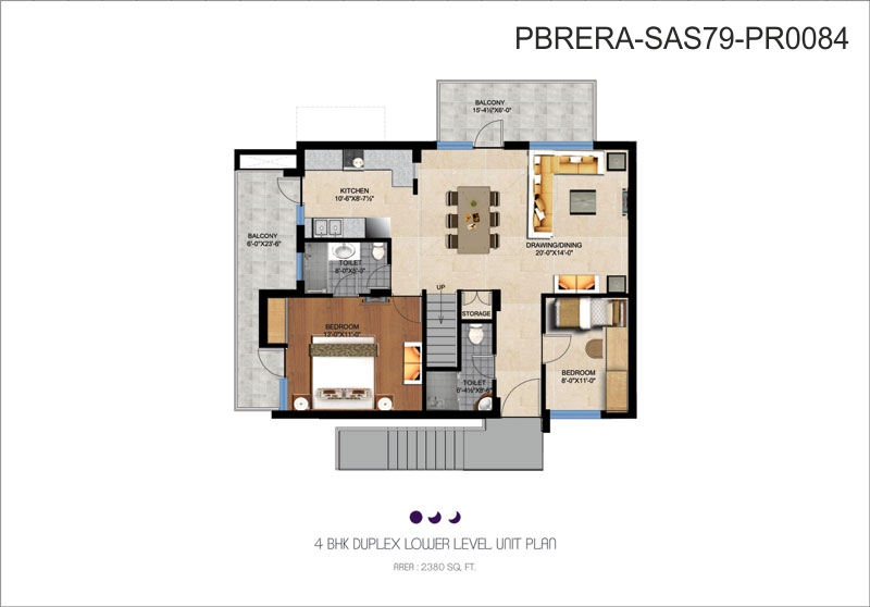 4 BHK Duplex Lower level unit plan - 2380 Sq. Ft.