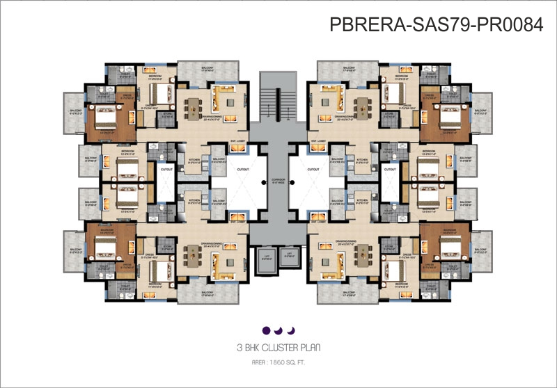 3 BHK Cluster plan - 1860 Sq. Ft.
