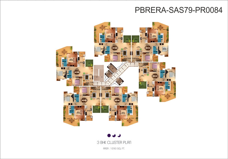 3 BHK Cluster plan - 1590 Sq. Ft.