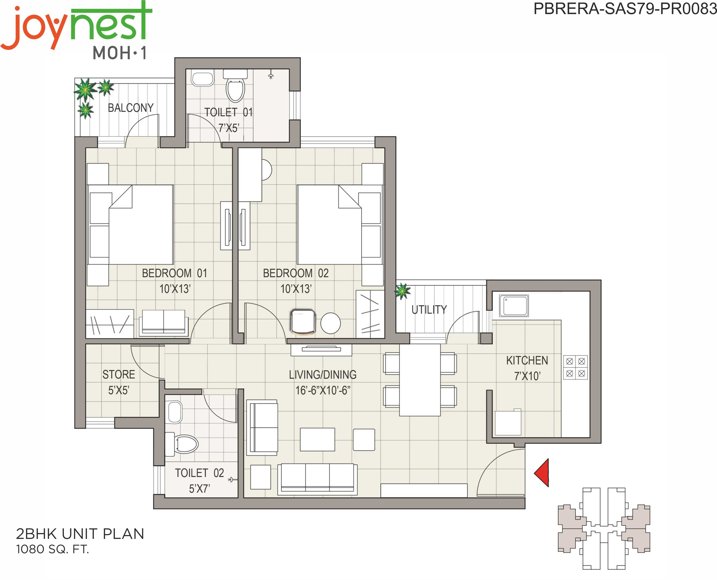 Cluster Plan 3BHK - 1355 Sq.Ft