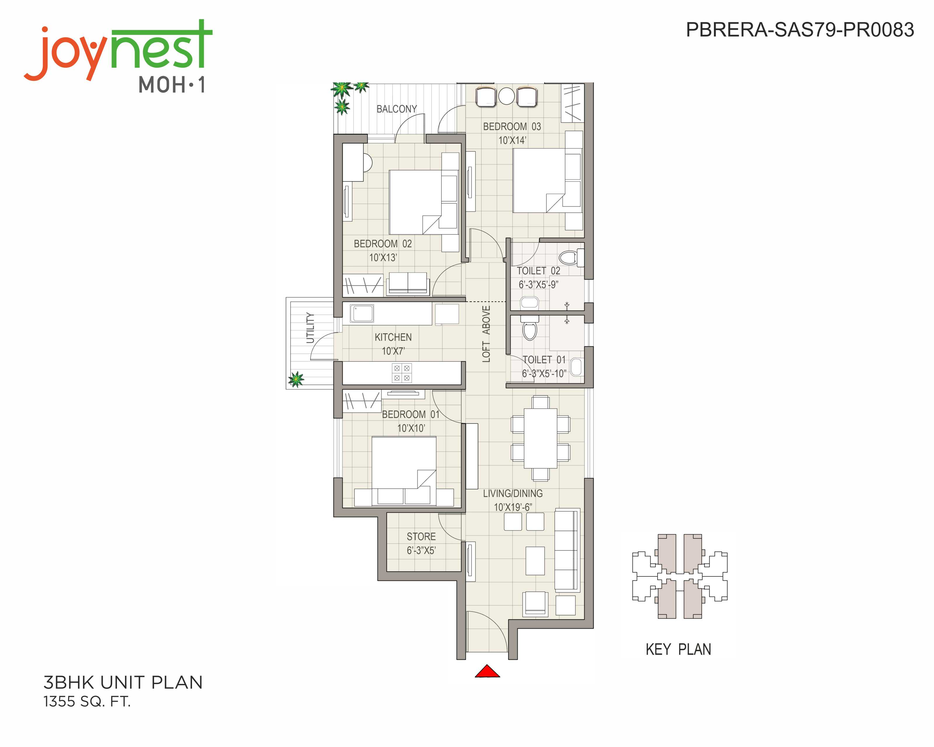 Unit Plan - 3BHK - 1355 sq. ft.