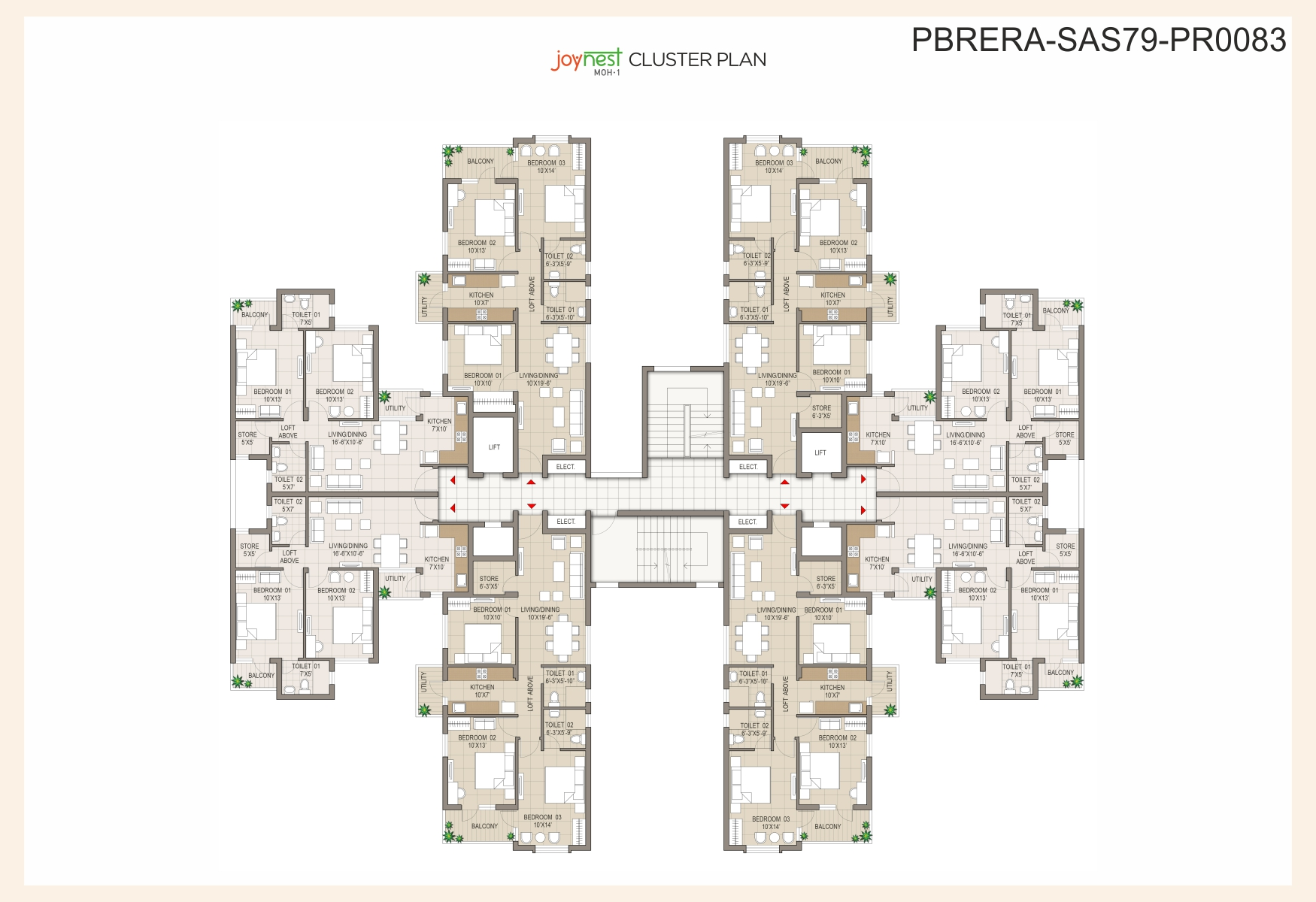 Cluster Plan 2BHK – 1080 Sq. Ft.