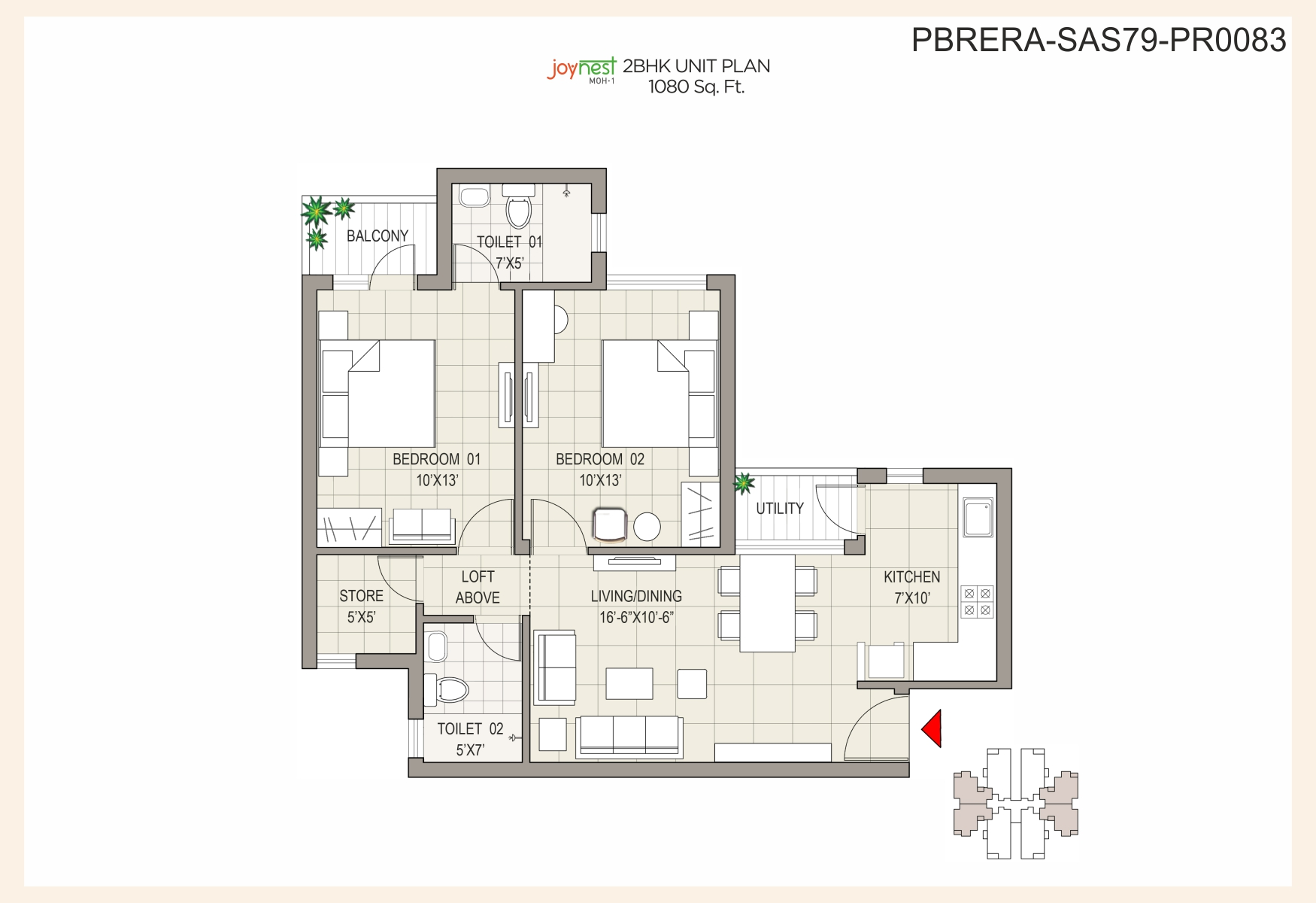 Unit Plan - 2BHK - 1080 sq. ft.