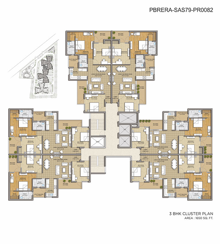 Cluster Plan - 3BHK - 1650 Sq. Ft.