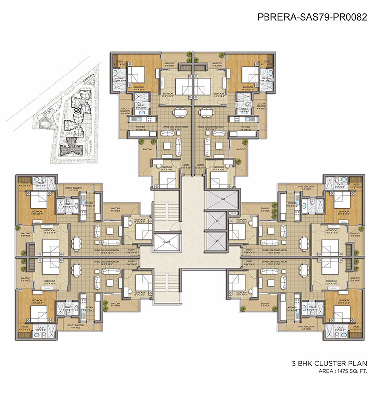 Cluster Plan - 3BHK - 1475 Sq. Ft.