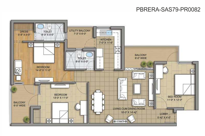 Unit Plan - 3BHK - 1650 Sq. Ft.