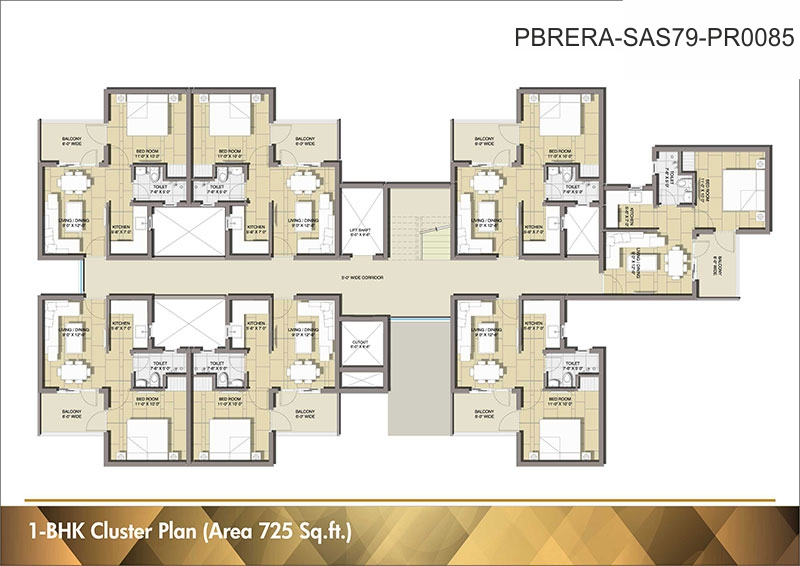 Cluster Plan - 1BHK - 725 Sq. Ft.