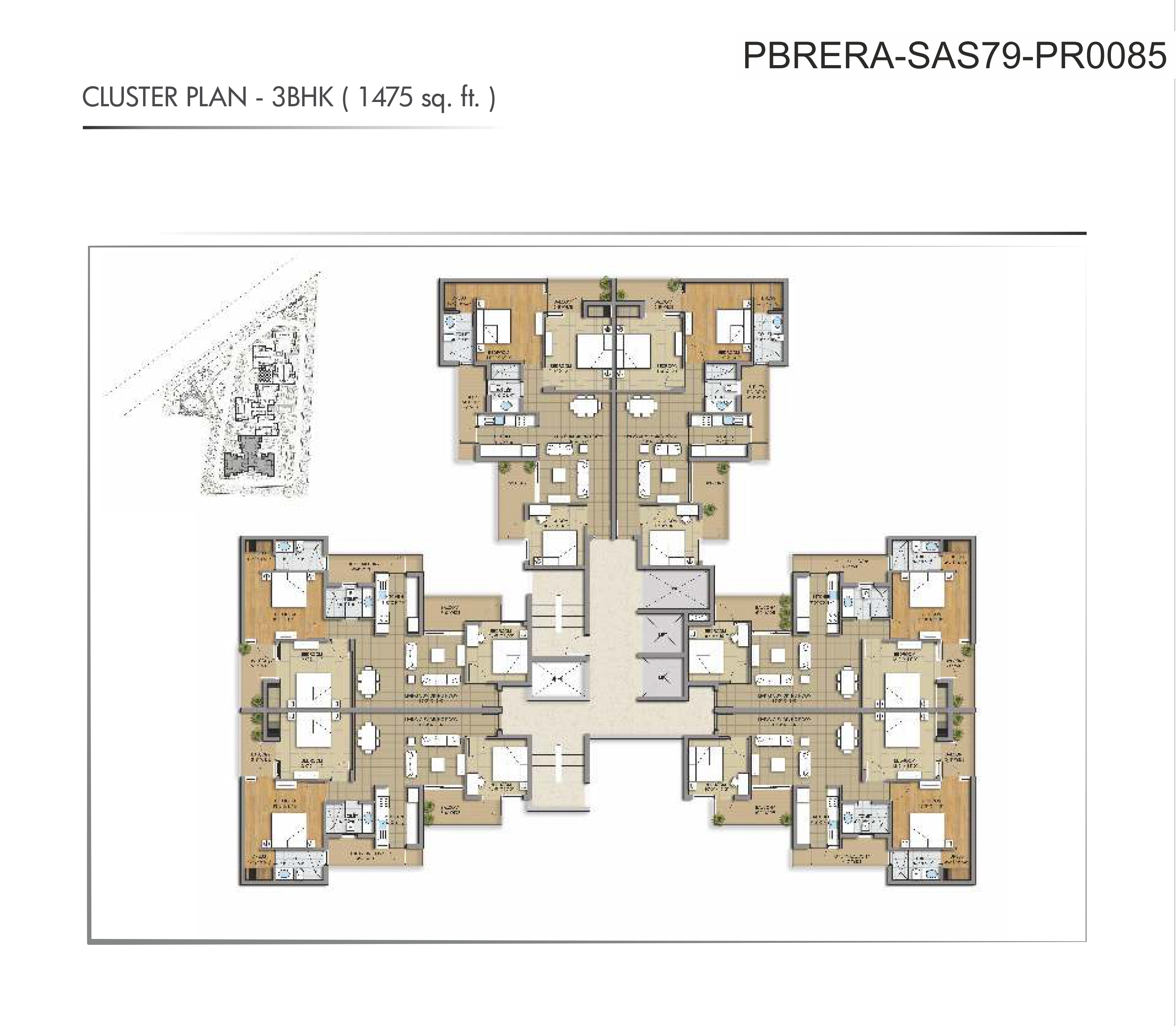 Cluster Plan-3BHK (1475sq-ft)