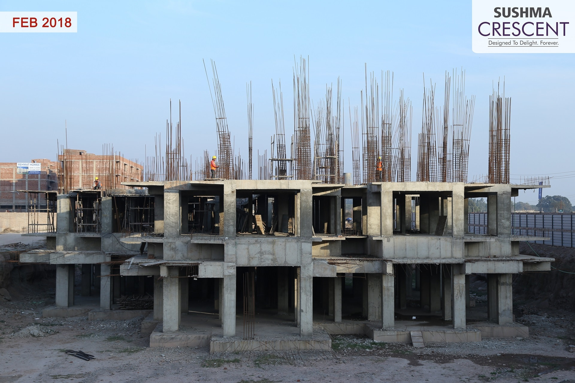Tower N First Floor Slab Shuttering and Second Floor Column Steel Binding Work in Progress