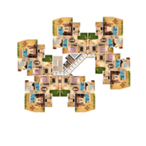 3 BHK  Cluster plan - 1485 Sq. Ft.