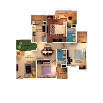 3 BHK Unit plan - 1485 Sq. Ft.