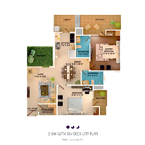 2 BHK with SKY Deck unit plan - 1310 Sq. Ft.