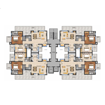 4 BHK Duplex Cluster plan - 2380 Sq. Ft.