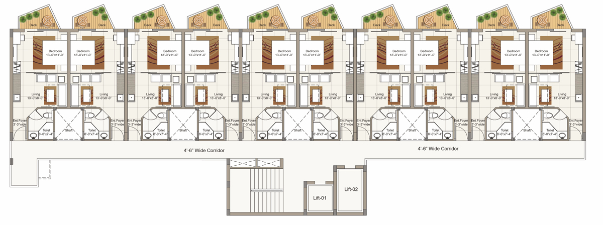 Typical First to Sixth Floor plan for Block A (1 BHK/2 BRK Cluster)