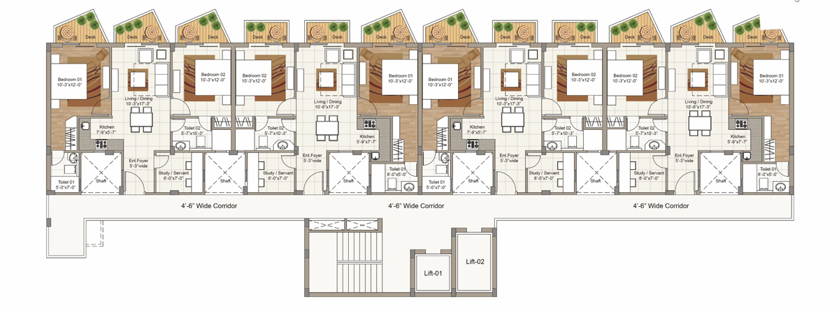 Sixth Floor plan for Block E (2 BRK / 3 BHK Units)