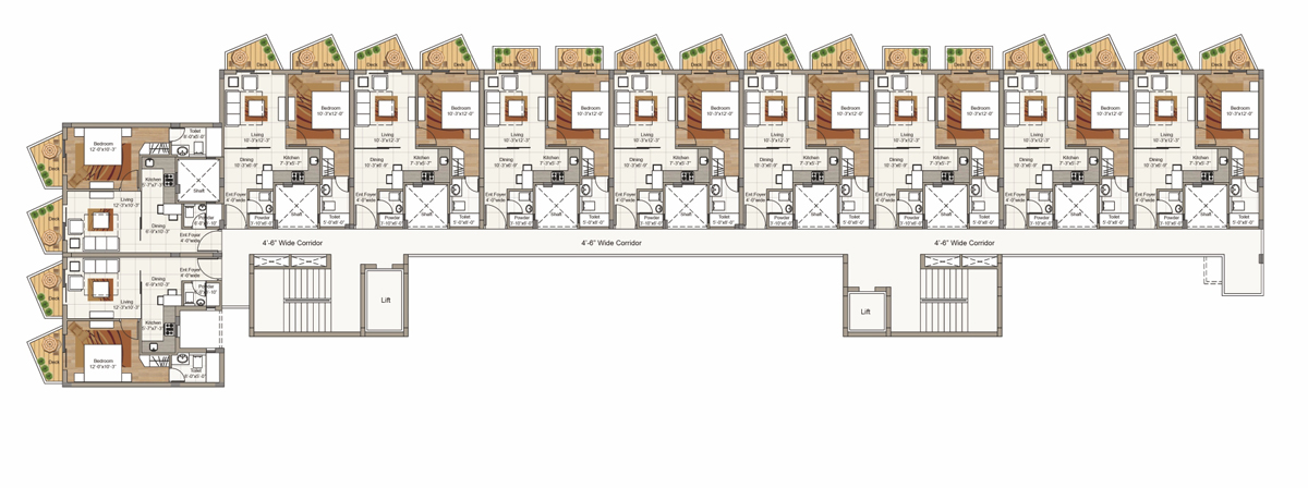 Typical 1st to 5th Floor plan for Block F (2 BRK Unit)