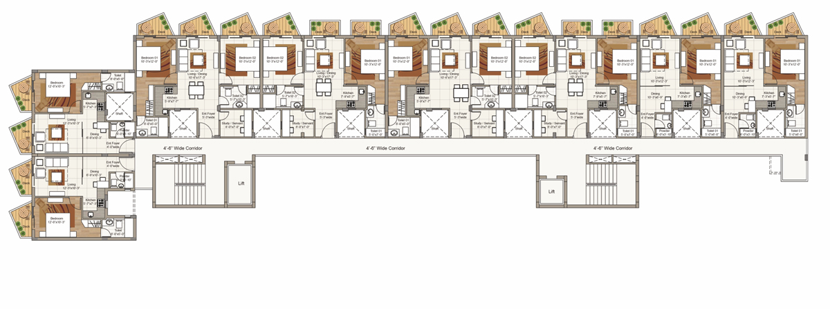 Sixth Floor plan for Block F (2 BRK / 3 BHK Units)