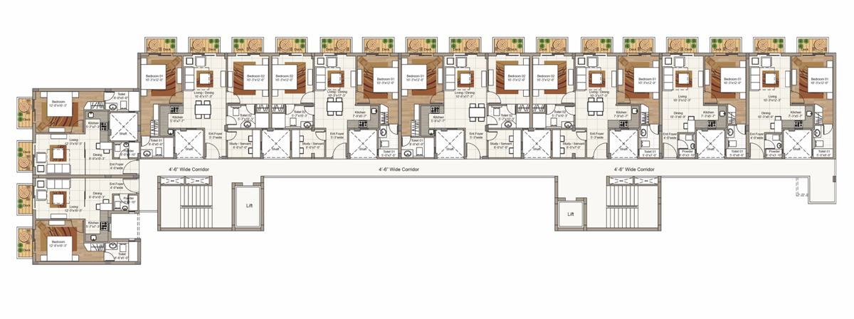 Seventh Floor plan for Block F (2 BRK / 3 BHK Units)