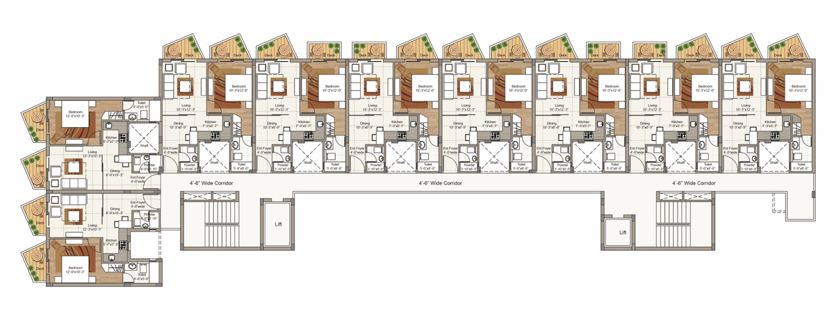 Typical 1st to 6th Floor plan for Block G (2 BRK Unit)