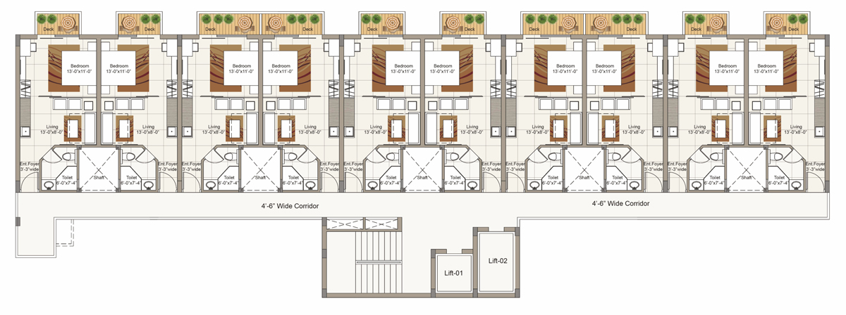 Typical Seventh Floor plan for Block A (1 BHK/2 BRK Cluster)