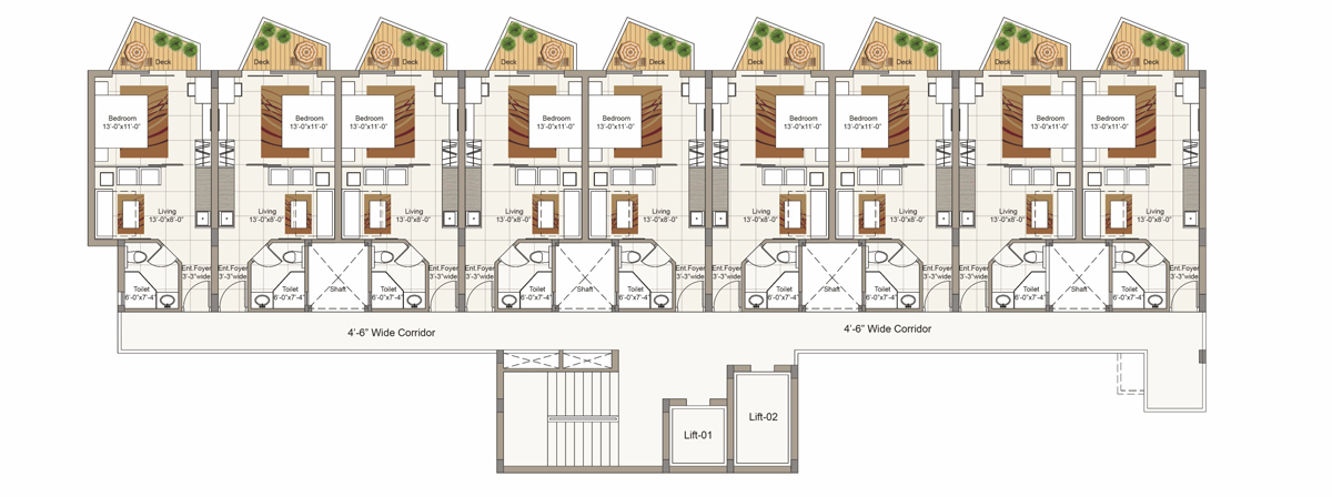 Typical First to Sixth Floor plan for Block B ( 1 BHK/2 BRK Cluster)