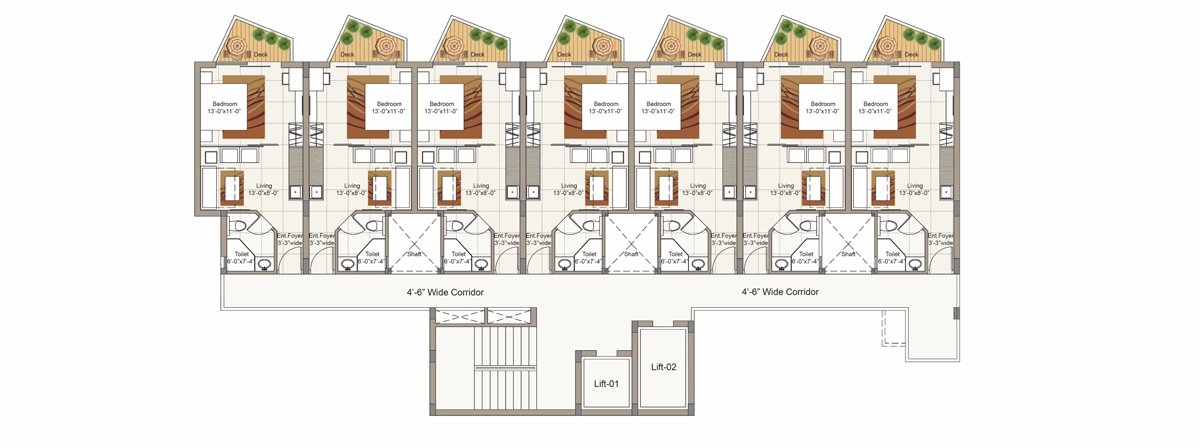 Sixth Floor plan for Block D (3 BHK Unit)