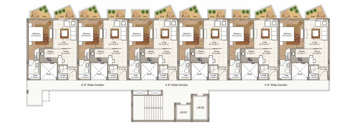 Typical 1st to 5th Floor plan for Block E (2 BRK Unit)