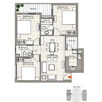 Unit Plan - 3BHK+2WR - 1270 sq. ft.